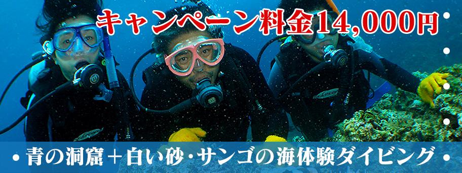 青の洞窟+白い砂・サンゴの海体験ダイビング